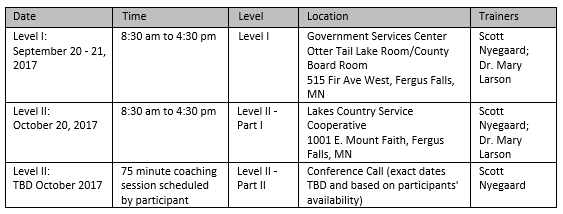 Fall 2017 MI Training Schedule